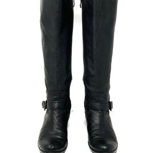 Vince Camuto Black Leather Zip Knee High Boots